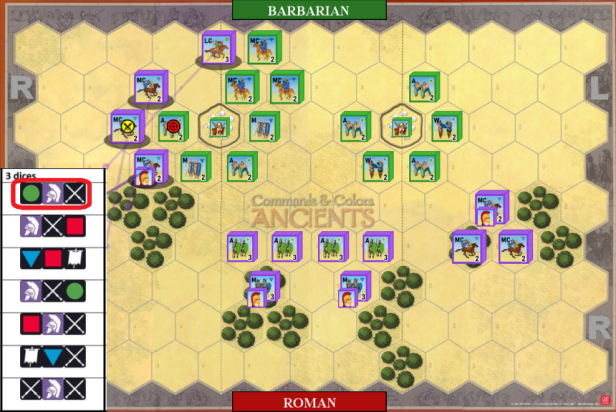 02. Medium Cavalry attacks and eliminates Auxilia.
