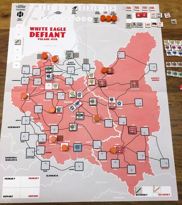 After Turn 5; VPs at 8. Entry of Soviet forces changes everything. Polish forces are between hammer and anvil now.