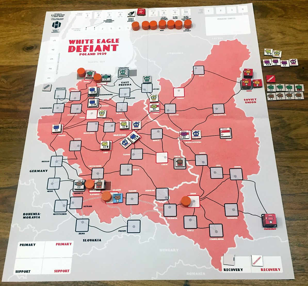 After TURN 5; VPs at 5. Katowice finally falls, Polish Central army is heading towards Gdynia and Danzig.