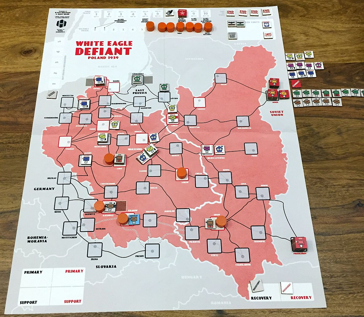 After TURN 6&7; VPs at 5. The North of Poland is free again! But German forces are converging on Warsaw. One more point for Soviet entry...