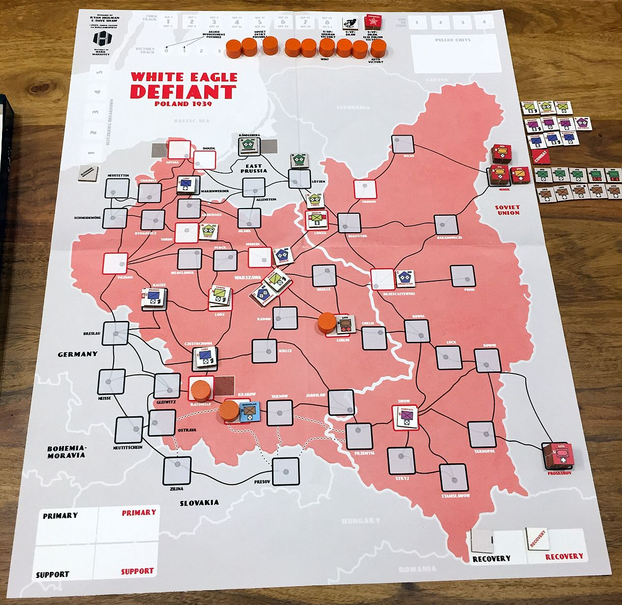 After TURN 8&9; VPs at 3. German Southern armies were annihilated during the attack on Warsaw. Polish forces are starting the mopping-up operation...