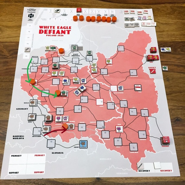 Turn 1-2: VPs at 4. Concentrated Attack on Katowice (repulsed) and Krakow (successful). In the North the assault goes through Poznan to Lodz.