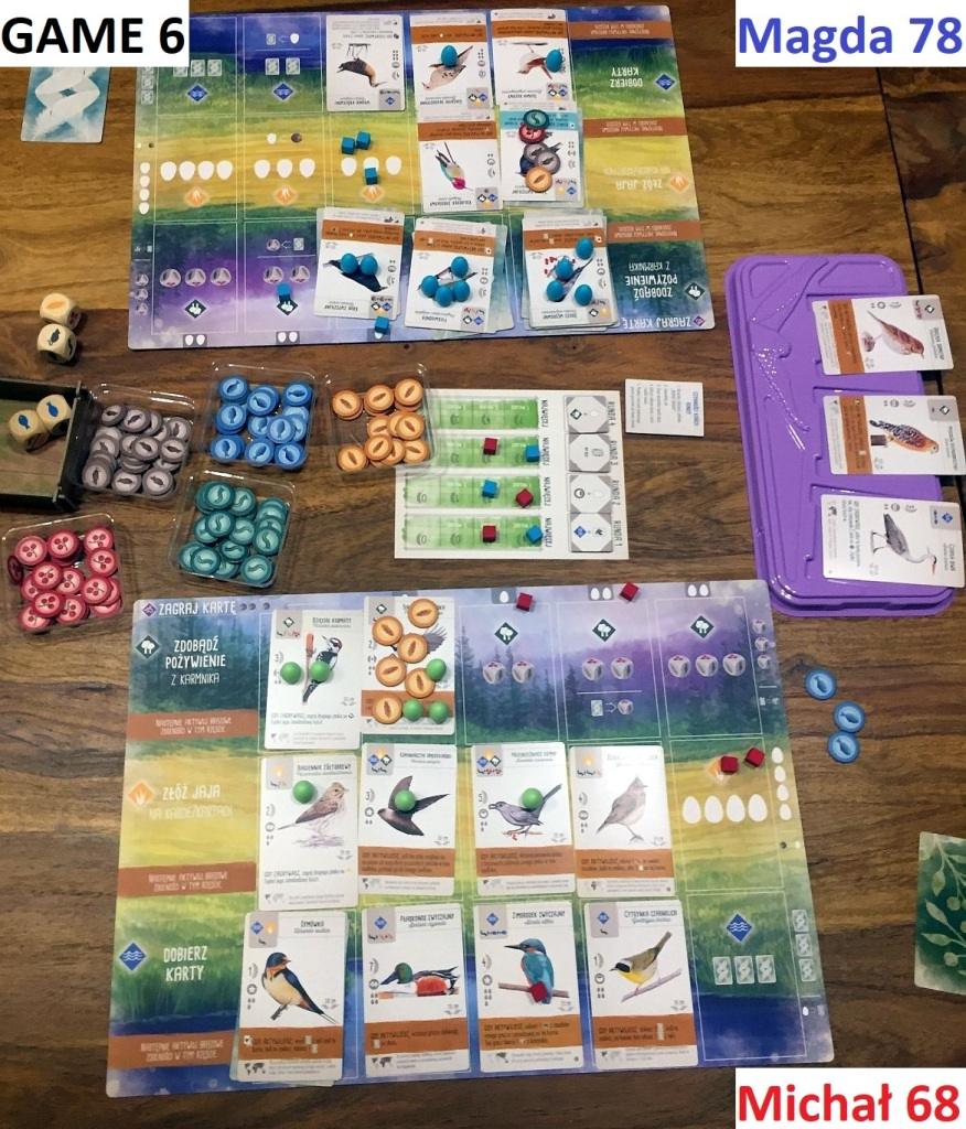 Game 6 - Magda pulled great victory in our last session, scoring 17 points for gregarious birds.