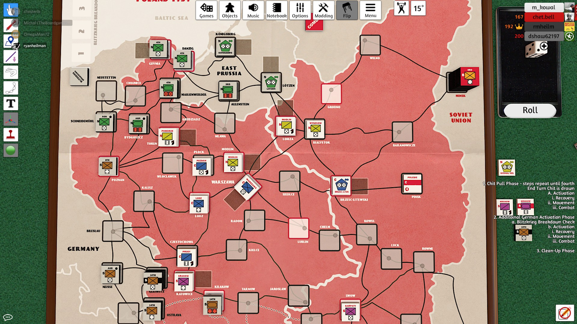 T1 end - Chester took North (Gdynia) and will start to besiege Katowice. Things starts slowly but steadly. For now.