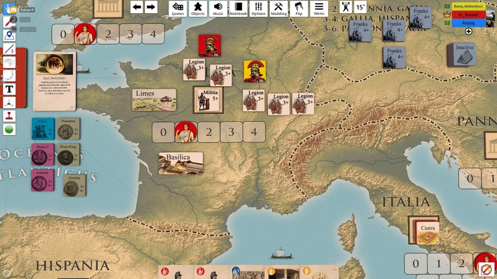 My well-developing Gallic capital - a springboard to Italy - was in the end attacked by Adrian but I repelled the incursion!