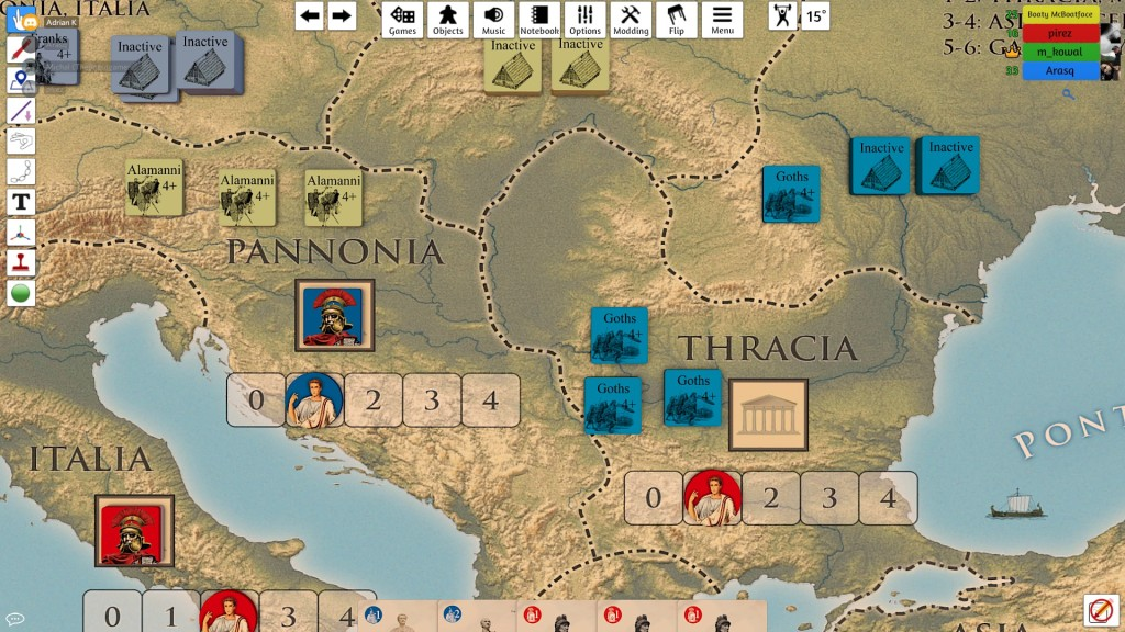 Marek (blue) and Piotr (red) were constantly harassed by barbarians but our newbie quickly took Rome!